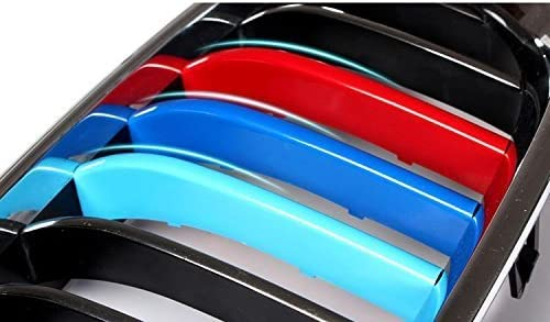 8X-SPEED for BMW 5 Series F10 F18 520i 528i 535i 550i xDrive 2014-2016 3D Car Styling M Front Grille Insert Trim Motorsport Grill Stripes Cover M Performance Sticker 3 Colors for BMW M Accessories