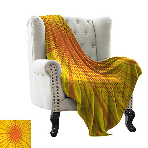 LsWOW Baby Monthly Milestone Blanket Vintage Yellow,Sun Burst with Halftone Effect Comic Book Style and Pop Art Design,Orange and Yellow Reversible Soft Fabric for Couch Sofa Easy Care 60