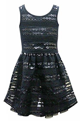 Hannah Banana Big Girls Tween Faux Leather Party Dress, 7-16  (Black, 7) -