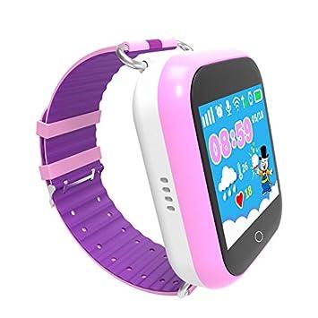 Reloj Inteligente GPS para Niños, antipérdida, para Niños, con Tarjeta SIM, Llamada Sos, Reloj Inteligente para iPhone y Android (Púrpura): Amazon.es: ...