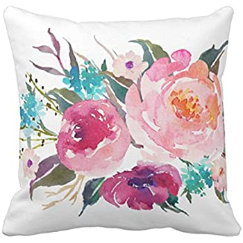 Emvency Throw Pillow Cover Flowers Floral Turquoise Pink Watercolor Summer Decorative Pillow Case Home Decor Square 18 x 18 Inch Pillowcase