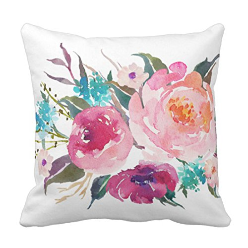 Emvency Throw Pillow Cover Flowers Floral Turquoise Pink Wat