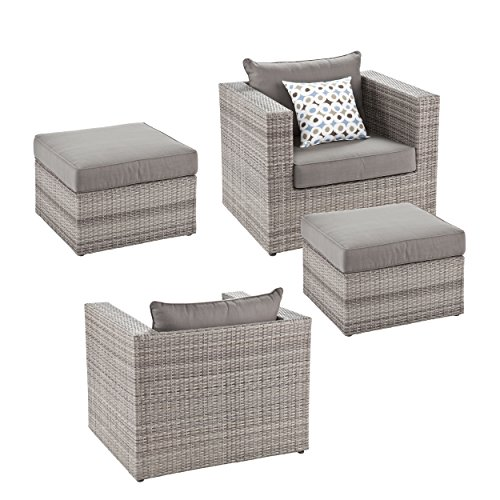 Bristow Outdoor Deep Seating Chairs w/Ottomans - 4 pc Set - Durable Synthetic Wicker ()
