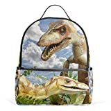 MUOOUM Animals Compsognathus Dinosaur Backpack Casual Daypack School College Travel Bag for Teens Boys Girls