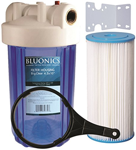 10'' Big Blue Whole House Water Filter 5 Micron Pleated Sediment Cartridge with CLEAR BLUE TRANSPARENT HOUSING by BLUONICS