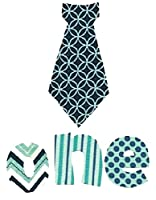 """[4 Count Set] Custom and Unique (2"""" - 5.75"""" Inches) Boy's First Year Old Birthday Polka Dots & Patterns Decorative Neck Tie w/ Letters Spelling One Iron On Embroidered Applique Patch {Blue Color}"""