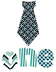 "[4 Count Set] Custom and Unique (2"" - 5.75"" Inches) Boy's First Year Old Birthday Polka Dots & Patterns Decorative Neck Tie w/ Letters Spelling One Iron On Embroidered Applique Patch {Blue Color}"