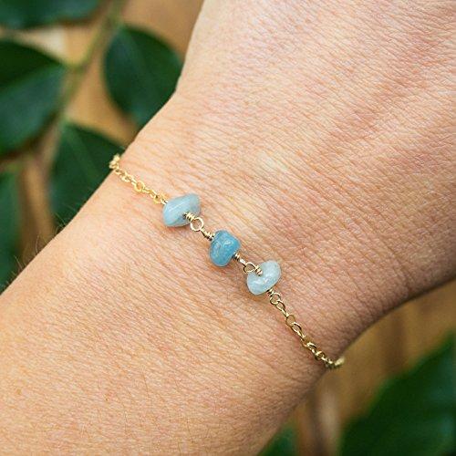 - Aquamarine beaded chain crystal bracelet in 14k gold fill - 6