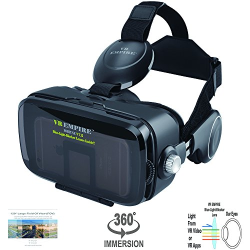 VR Headset Virtual Reality 3D Glasses Headset with 120° FOV, Anti-Blue-Light Lenses, Stereo Headset, for All 4.0-6.2 inch Smartphones such as iPhone & Samsung HTC HP LG etc.
