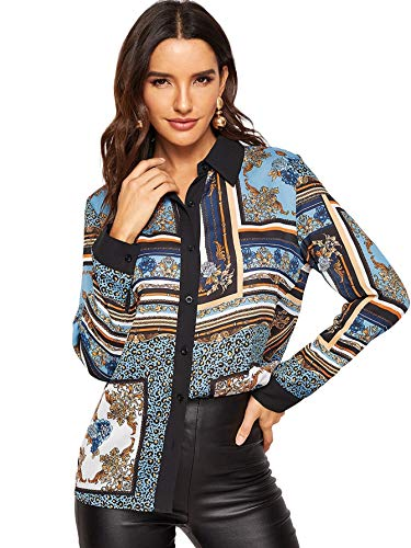 Milumia Women's Button Down Long Sleeve Scarf Print Blouse Tops Multicolor-3 XL ()