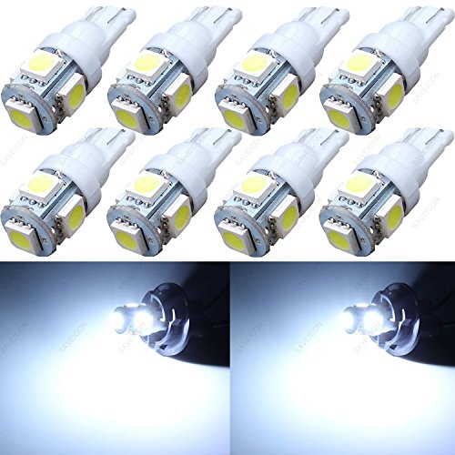 10x LED Replacements for Malibu Landscape Light 5 Led/smd Per Bulb 194 T10 T5 Wedge Base Cool White 12v Dc 1407ww