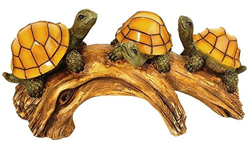 (Moonrays 91515 Solar-Powered Outdoor LED Light Garden Décor, Beautifully Painted Polyresin Turtles on a Log, 3 Amber LEDs And 1 AA NiCd Rechargeable Battery (Included) 11.02W x 5.51H inches)