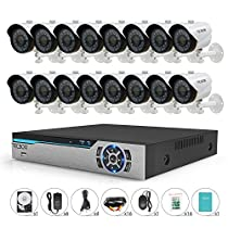 TECBOX 16 Channel 720P AHD Home Security Camera System DVR Recorder 2TB Hard Drive Preinstalled with 16 HD 1.3MP Waterproof Night vision Indoor/Outdoor CCTV surveillance Camera