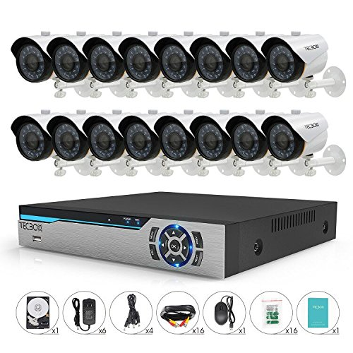 TECBOX 16 Channel 720P AHD Home Security Camera System DVR