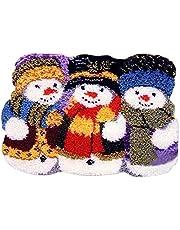 DIY Rug Crochet Yarn Kits,Needlework Latch Hook Kit Unfinished Crocheting Rug Yarn Cushion Embroidery Carpet Set (Snowman,21x15 (52X38cm)
