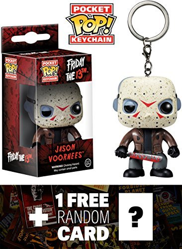 (Friday The 13th Jason Voorhees: Pocket POP! x Horror Classic Mini-Figure Keychain + 1 Free Classic Horror & Sci-fi Movies Trading Card Bundle)