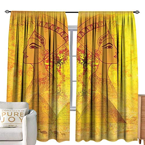 cobeDecor Blackout Bedroom Curtain Egyptian Antique Old Paper with Egyptian Queen Portraits Pyramids Camels Image Print Orange and Yellow Simple Style W120 xL96