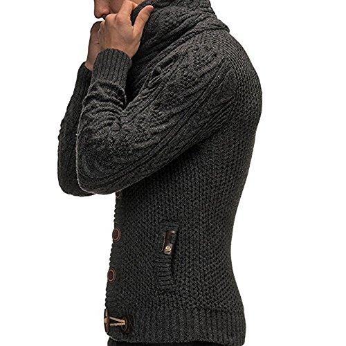 Uomo Lunga Mambain Maglioni Caldo Alto Grigio Invernale Cardigan Scuro Elegante Slim Maglieria A Maglia Fit Scollo Unita Pullover Manica V Tinta Bottoni Moda Con Maglione Collo CYx7Pqn5x