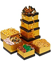 Gourmet Treats and Goodies 4-Tiered Black & Gold Gift Basket Tower