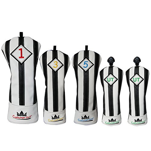 ナインへ物理仕様CRAFTSMAN(クラフトマン)ユベントスファン向け イタリア風 ゴルフヘッドカバー レザー製 たて縞黒白 バージョンアップ (135UT*2)