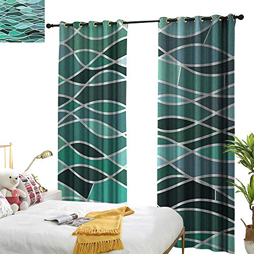 apes for Living Room Stained Glass Pattern with Wavy Lines and Mosaic Abstract Geometric Composition W72 x L96,Suitable for Bedroom Living Room Study, etc. ()