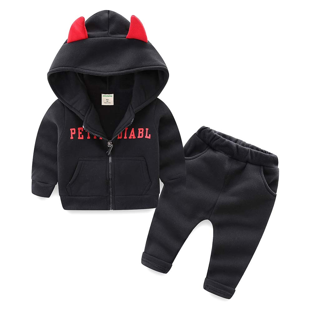 Cute Cartoon Devil Hooded Pullover and Zipper Sportswear 2-5 Years Thikey Boys Cloting Suit
