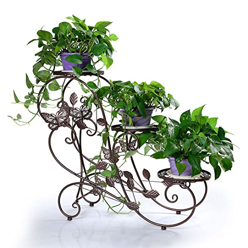 HLC Classic Plant Stand Shelf Holds 3-flower Pot Bronze