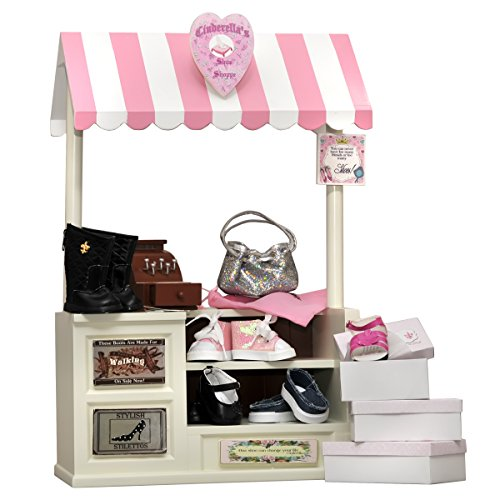18 In Doll Furniture, COMPLETE Interchangeable Cinderella's Shoe Shop, Signs, Cash Register, Money, Shoes, Boots & Hand Bag by The Queen's Treasures