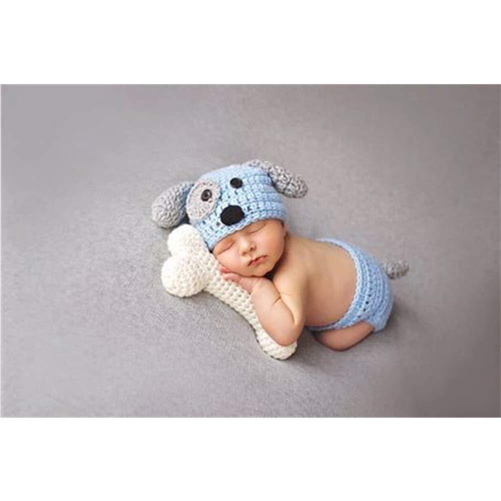 Mode Neugeborenen Jungen M/ädchen Baby Kost/üm Gestrickte Fotografie Requisiten H/ündchen Hut Hosen Blue