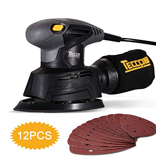 Mouse Detail Sander, TECCPO 14,000 OPM Mouse Detail Sander with Recyclable Dust Bag for Tight Corner and Small Hard-to-reach Areas Sanding, Ideal for DIY, Home Decoration (Best Detail Sanders)
