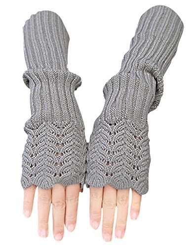 Novawo Women's Scale Design Winter Warm Knitted Long Arm Warmers Gloves Mittens (Light Gray) by Novawo