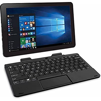 "RCA Cambio 10.1"" 2-in-1 Tablet 32GB Intel Quad Core Windows 10 Black Touchscreen Laptop Computer with Bluetooth and WIFI"