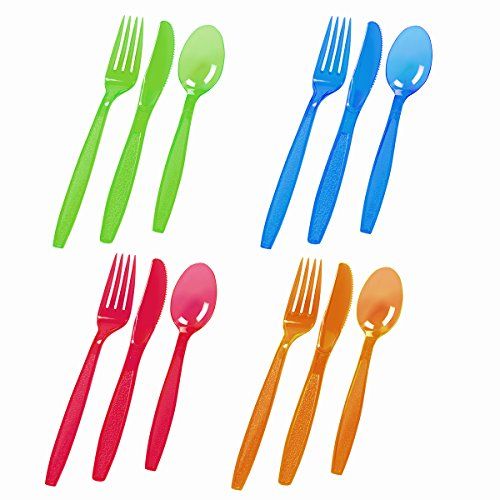 ChefLand 96-Piece Plastic Cutlery Combo Knives/Forks/Spoons, Assorted Neon (Blue Assorted Cutlery)