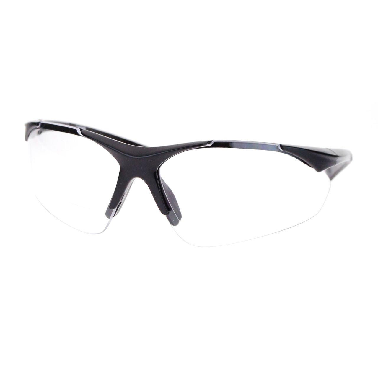 Mens Clear Lens Half Rim Sports Glasses with Bifocal Reading Lens