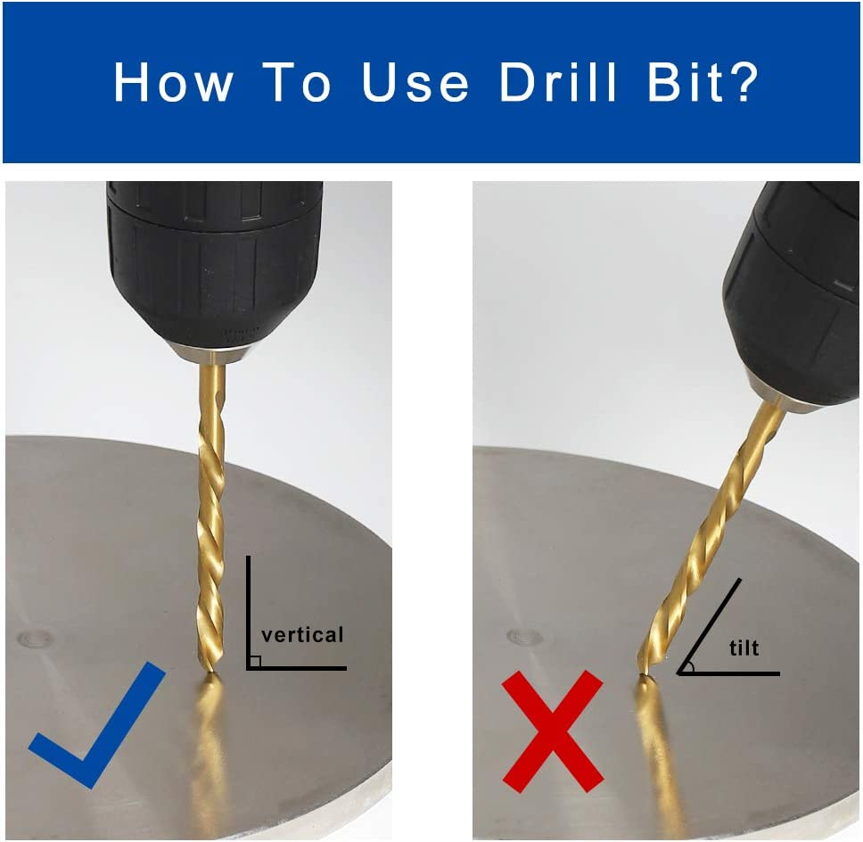 SAE Comoware Left Hand Drill Bit Set Left Hand-13PCS 1//16-1//4 13 Piece M2 HSS With Titanium Nitride Coating