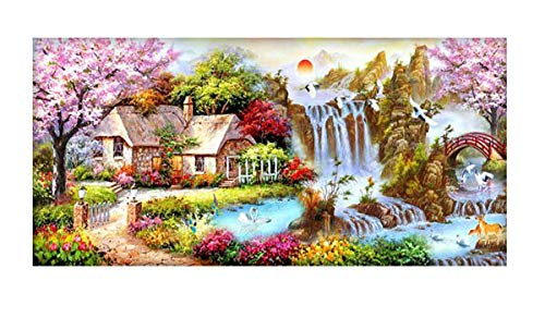 SanerDirect DIY 5d Diamond Painting Kits, Full Canvas Round Drill Painting with Diamonds for Adults, Paint by Diamonds for Dream Home Decoration Art Craft 40x16 inches from SanerDirect