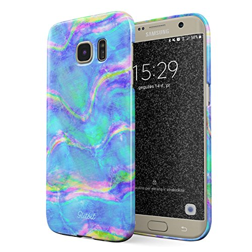 Abalone Iris (Glitbit Compatible with Samsung Galaxy S7 Edge Case Mermaid Paua Abalone Sea Shell Haliotis Iris Holographic Mother of Pearl Cotton Candy Thin Design Durable Hard Shell Plastic Protective Case Cover)