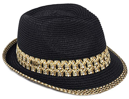 - H-6108-06 Multicolor Woven Fedora: Black w/ Thick Band