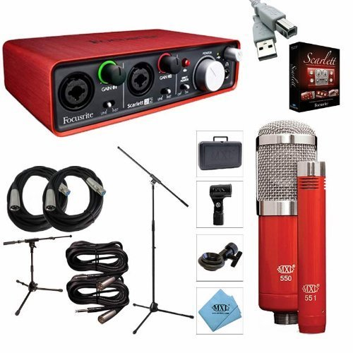focusrite scarlett 2i2 interface recording package mxl 550 551r 2 mic stand 2 xlr cable. Black Bedroom Furniture Sets. Home Design Ideas