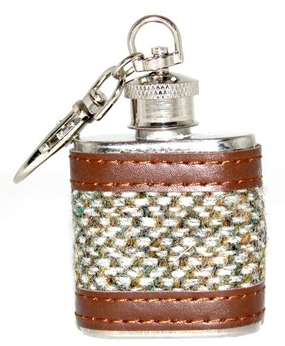 Stickyrico1 Harris Tweed Hip Flask 1oz Light Green Check Scotland Scottish  Gifts