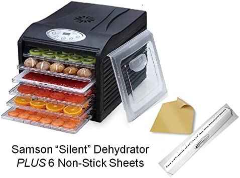 Samson Silent Dehydrator 6-Tray with Digital Controls PLUS 6 Non-Stick Sheets
