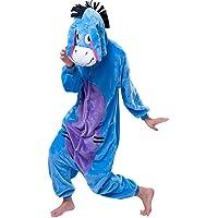 PADGENE Pyjama Animaux Cosplay Halloween Déguisement Adulte Femme Homme Unisexe, Ane, Small