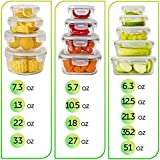 [13-Pack] Glass Storage Containers with Lids - Glass Food Storage Containers Airtight - Glass Containers With Lids - Glass Meal Prep Containers Glass Food Containers - Glass Lunch Containers