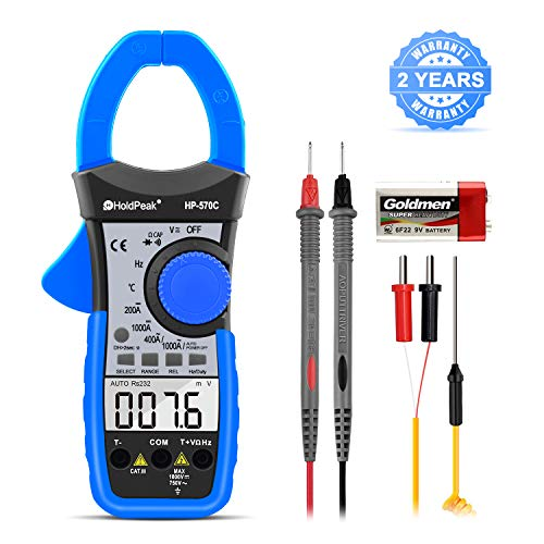 Digital Clamp Meter Multimeter HOLDPEAK HP-570C 4000 Counts Auto-ranging Multimeter with AC/DC Voltage&Current, Resistance, Capacitance, Frequency,Diode, Hz Test,NCV,Continuity Buzzer,Voltage Detect