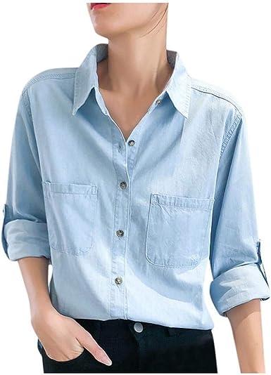 VJGOAL Camisas de Mezclilla para Mujer Moda Casual Camisetas de Manga Larga de Color Liso Primavera Verano Solapa Botones Tops Blusa con Bolsillos: Amazon.es: Ropa y accesorios
