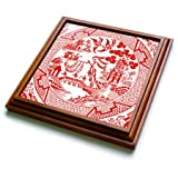 3dRose trv_262245_1 Willow Pattern Detail in Red and White Trivet with Tile, 8 by 8'',