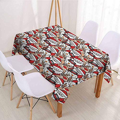 """ScottDecor Table Cover Christmas Tablecloth W 60"""" x L 90"""" Christmas,Snowman Reindeer Santa Claus Cartoon Image for Kids Festive Theme, Red White and Pale Brown"""