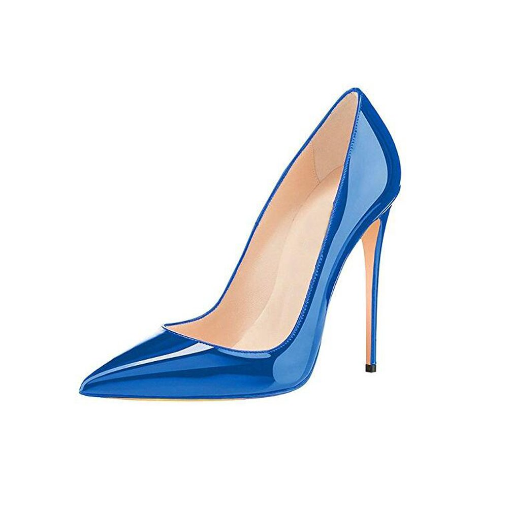 GENSHUO Women Fashion Pointed Toe High Heel Pumps Sexy Slip On Stiletto Dress Shoes (11 B(M) US, Royal Blue)