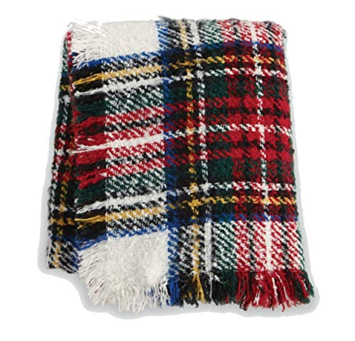 (MUDPIE White Tartan Boucle Throw)