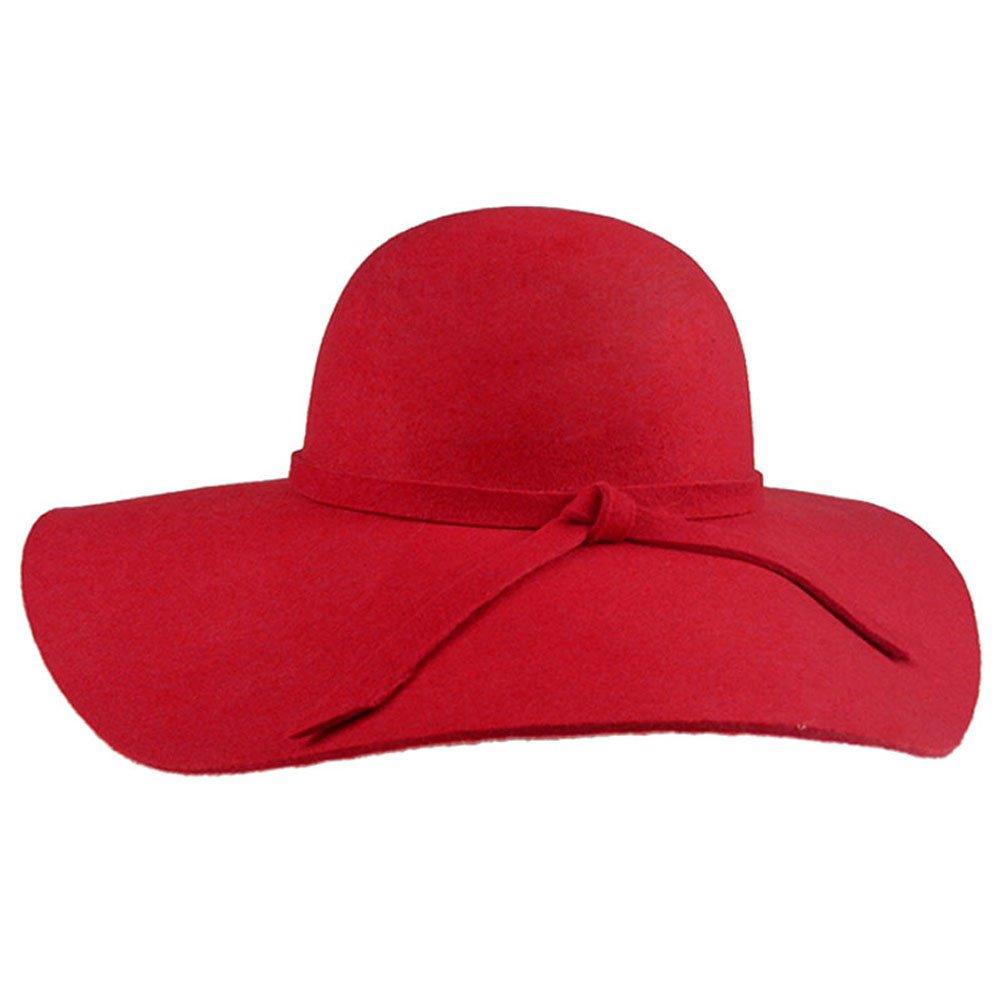 FUNOC Fashion Vintage Women Ladies Floppy Wide Brim Wool Felt Fedora Cloche Hat Cap fx223-Black